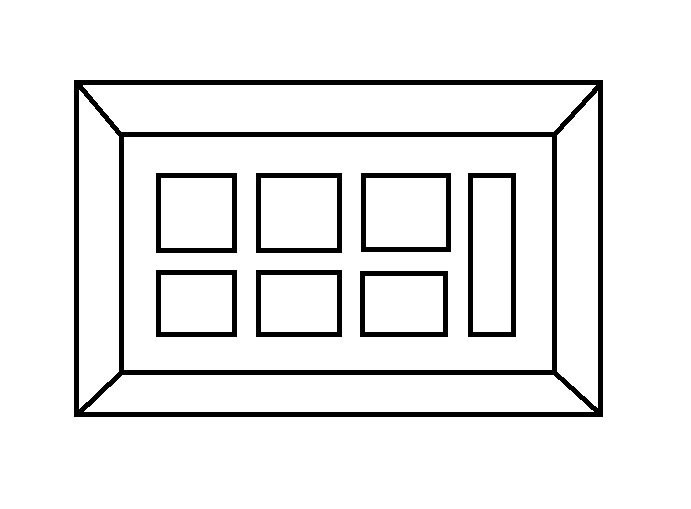 Example of window mounting where the distance is uniform, both between images and at the top, bottom and sides